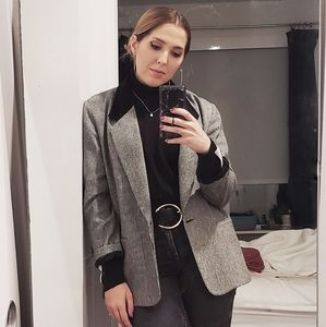 Vintage Black White Check Blazer Velvet Collar